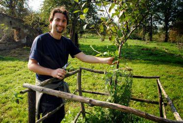 Ošetření ovocného stromu v sudetském sadu na Zastávce